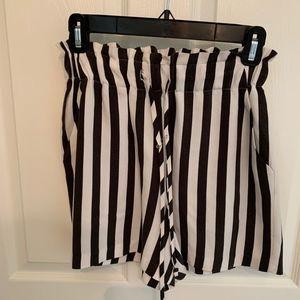 BCBGeneration Striped High Waisted Flowy Shorts